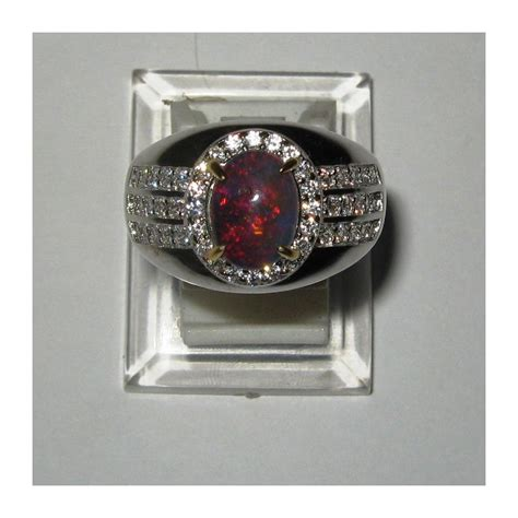 cincin black opal pria silver 925 ukuran 9 5us luster