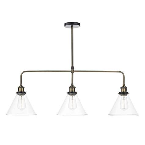 ray  light bar pendant antique brass clear eames lighting