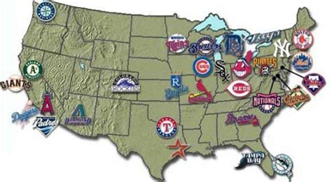 A map showing where all the major league baseball teams ...