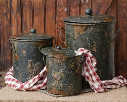 Green Antiqued Metal Canisters Pots Lids Farmhouse