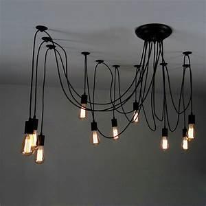 Light adjustable swag multiple pendant black