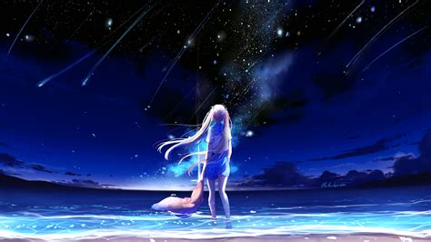 anime girl night beach  wallpapers hd wallpapers id