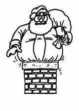 Chimney Coloring Santa Sheet Printable Pdf Template sketch template
