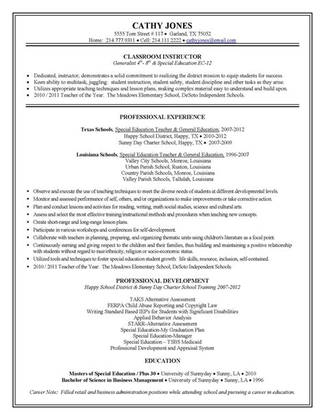 education resume template principal special education cover letter sle substitute lessons