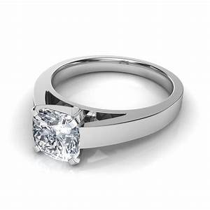 flat edge cushion cut solitaire diamond engagement ring With flat wedding rings with diamonds