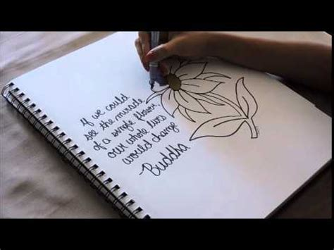 How to draw a Flower + Inspirational Quote - YouTube
