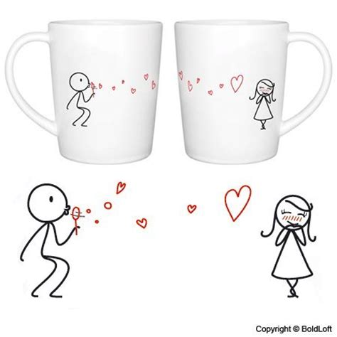 """BoldLoft """"From My Heart to Yours"""" Couple Coffee Mugs Romantic Valentine's Day Gifts for Couples"""