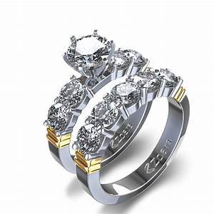 shared prong diamond wedding set in 14k two tone gold With two toned wedding ring sets