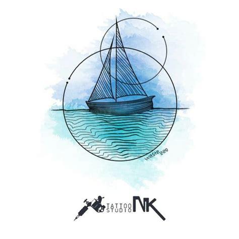 geometric sailboat watercolor tattoo design tattoos sailing tattoo watercolor tattoo