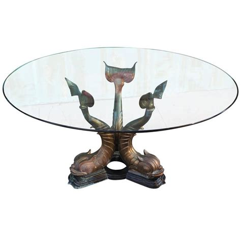 fabulous brass and glass dolphin fish dining table
