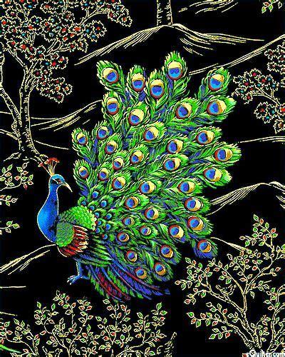royal peacock posing in the garden black gold fabric