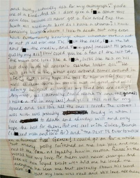 aaron hernandez prison letters this prison letter from aaron hernandez to a fan is