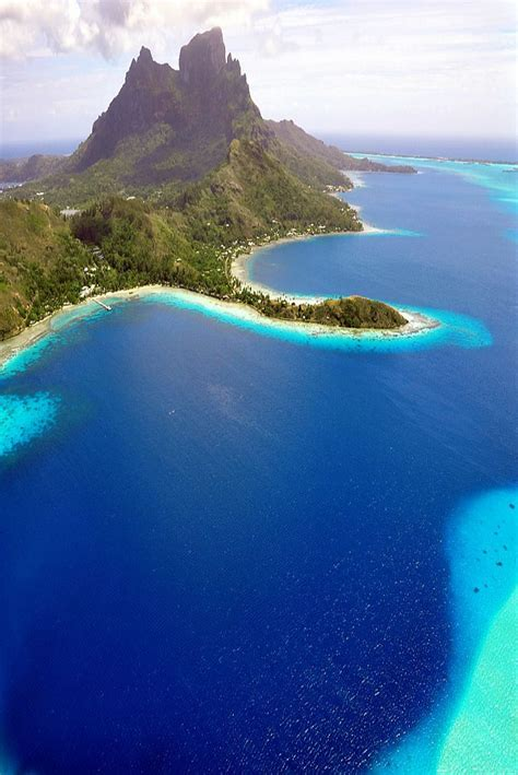 Amazing Aerial View Of Bora Bora And Its Lagoon With Its