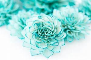 10 3 Teal Wooden Flowers Wedding Decorations Wedding