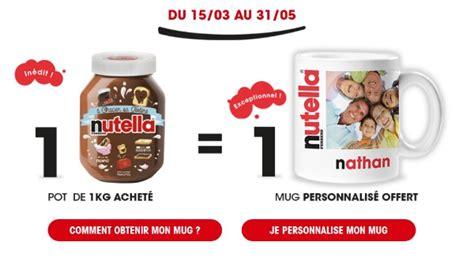 nutella 1 mug personnalis 233 offert pour 1 pot de 1 kg achet 233