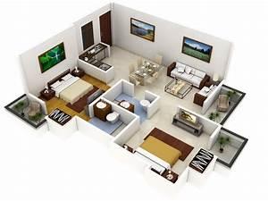 Plano 3D de casa con dos dormitorios Construye Hogar