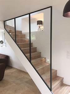 Habiller Un Escalier En Béton Brut : best verrire acier brut sur escalier bton recouvert de lames de parquet fabriqu bignan proximit ~ Nature-et-papiers.com Idées de Décoration