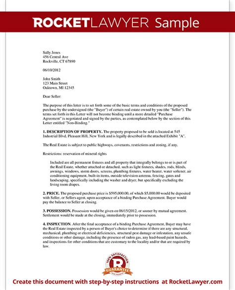 intent  purchase real estate letter  sample