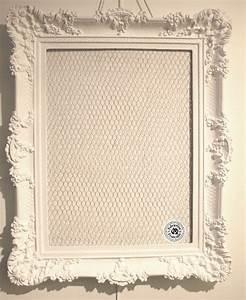 Grand Cadre Deco : grand cadre 90 x 71 cm shabby chic r sine et bois peint blanc incrust d 39 un grillage de poule ~ Teatrodelosmanantiales.com Idées de Décoration