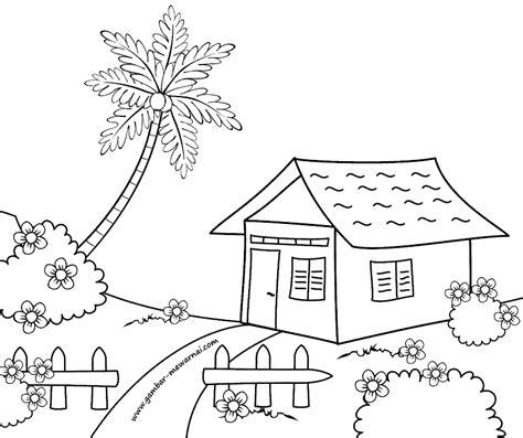 gambar mewarnai rumah sederhana buku mewarnai drawing
