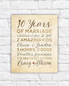 10 year anniversary gift wedding anniversary decor rustic With 10 year wedding anniversary gifts for her