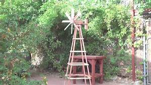 Hand Crafted Garden redwood Windmill with Stand - YouTube
