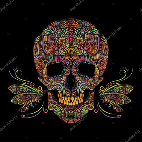 Decorative color skull Stock Vector © VectorStory #90644038