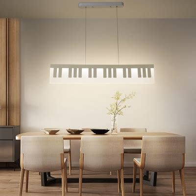 minimalist  white linear chandelier  long home decorative lights acrylic notes led