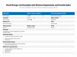 Brand Manager Job Description With Minimum Requirements