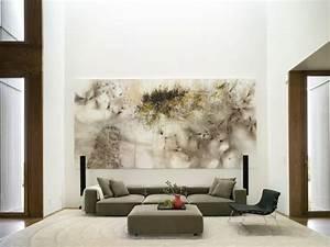 Grand Tableau Blanc : tableau abstrait dans la salon en 25 id es de d co murale ~ Teatrodelosmanantiales.com Idées de Décoration