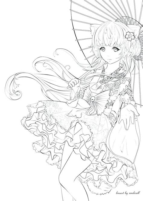 dazzling design anime girl coloring pages color cute
