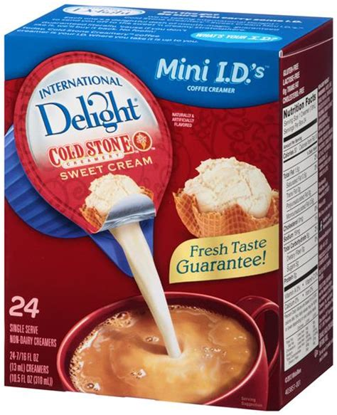 Heavy cream called for a tablespoon, as did the vanilla creamer, while others listed their nutrition inforamtion by the cup, like whole milk and almond milk. International Delight Mini I.D.'s Cold Stone Creamery Sweet Cream Non-Dairy Coffee Creamer ...