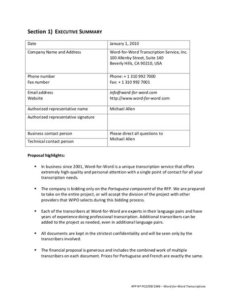 Rfp Template Rfp Sle Request For