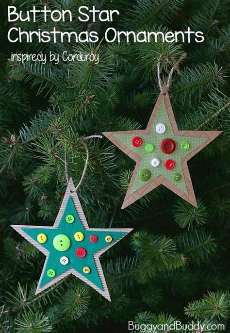 homemade button star christmas ornament craft  kids