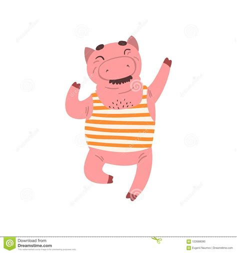 A page for describing funny: Funny Male Pig Having Fun, Farm Animal Cartoon Character ...