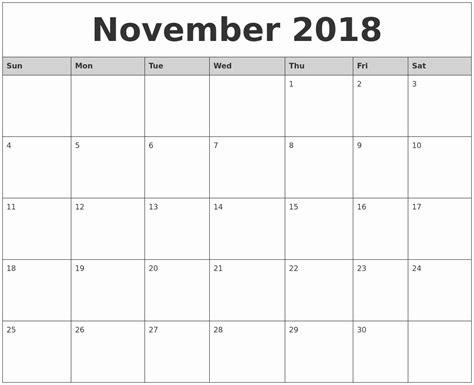 monthly calendar template 2018 2018 calendar template printable november 2018 printable calendar monthly calendar template