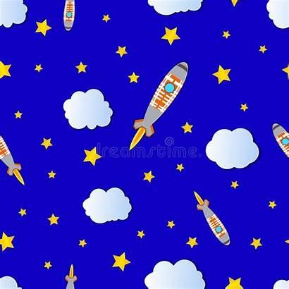 Sky Cartoon Starry Space Cloudy Bright Seamless