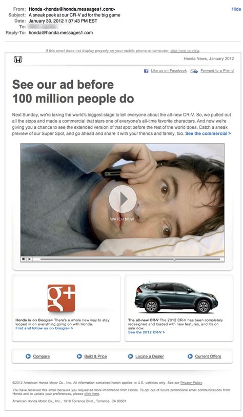 Honda Promotional Email Review  Email Design Samples