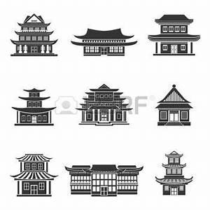 Maison Japonaise Dessin : temple chinois house chinese temples anciens b timents traditionnels orientaux ic nes noires ~ Melissatoandfro.com Idées de Décoration