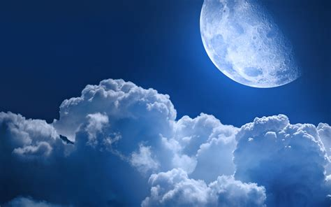 Moon And Clouds Wallpaper Sky Moon Clouds Close Light Wallpaper 3840x2400 643790 Wallpaperup