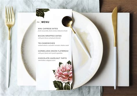 printable dinner party menu template design create