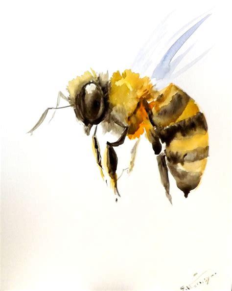 bee original watercolor painting 10 8 in bee art bee
