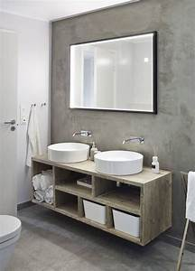 salle de bain beton cire tendance pour donner nouveau With meuble beton cire salle de bain