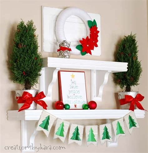 silver green  red christmas shelf decor