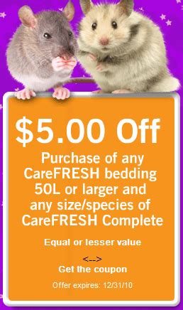 14283 Food Coupons By Mail by Centsible Pets 5 00 Carefresh Bedding And Food Coupon By