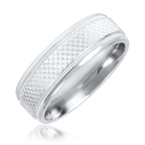 wedding rings men white gold zig zag mens wedding band 14k white gold my trio rings bt580w14km