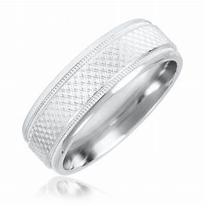 Zig Zag Mens Wedding Band 14K White Gold My Trio Rings