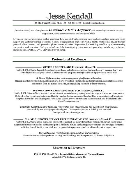 Claim Adjuster Resume Objective exle claims adjuster resume free sle