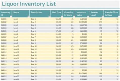 liquor inventory sheet liquor inventory spreadsheet