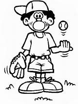 Baseball Coloring Boy Cartoon Ball Mitt Glove Clipart Clip Cliparts Pages Library sketch template